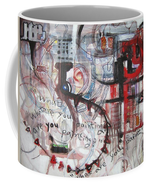 Abstract Paintings Coffee Mug featuring the painting What Are You Painting-red And Brown Painting by Seon-Jeong Kim