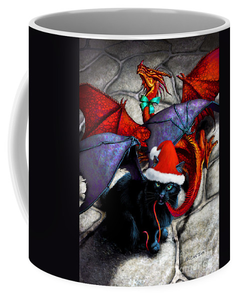 Cat Coffee Mug featuring the digital art What The Catabat Dragged In For Christmas Card by Stanley Morrison