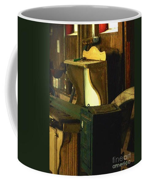 Antiques Coffee Mug featuring the painting What We Saw in the Shed by RC DeWinter