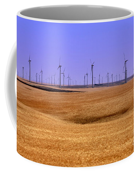 Wind Turbines Coffee Mug featuring the photograph Wheat Fields And Wind Turbines by Carol Groenen