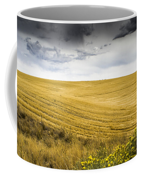 Autumn Coffee Mug featuring the photograph Wheat Fields With Storm by John Trax