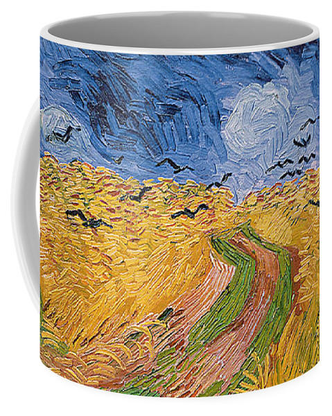 Landscape;post-impressionist; Summer; Wheat; Field; Birds; Threatening; Sky; Cloud; Post-impressionism Coffee Mug featuring the painting Wheatfield With Crows by Vincent van Gogh