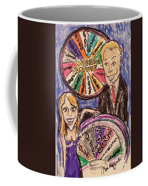 Wheel Of Fortune Coffee Mug featuring the mixed media Wheel Of Fortune Pat Sajak And Vanna White by Geraldine Myszenski