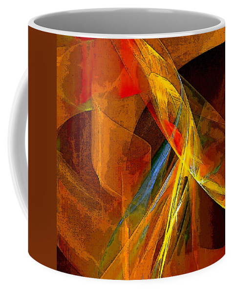 Abstract Coffee Mug featuring the digital art When Paths Cross by Ruth Palmer