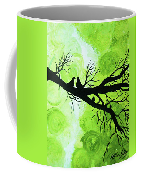 Green Coffee Mug featuring the painting When Story's Are Told by Katie Slaby