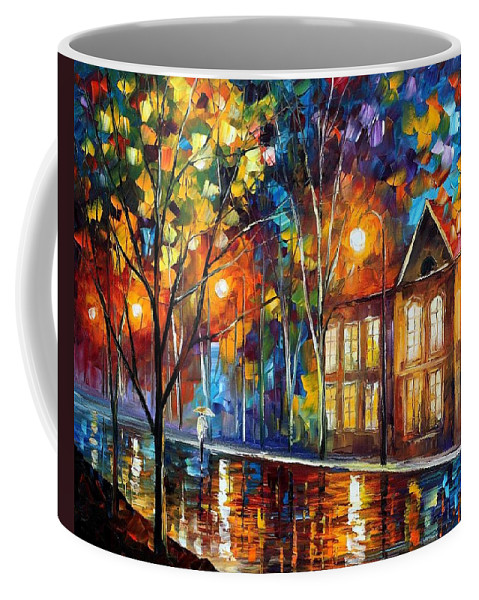 Afremov Coffee Mug featuring the painting When The City Sleeps by Leonid Afremov