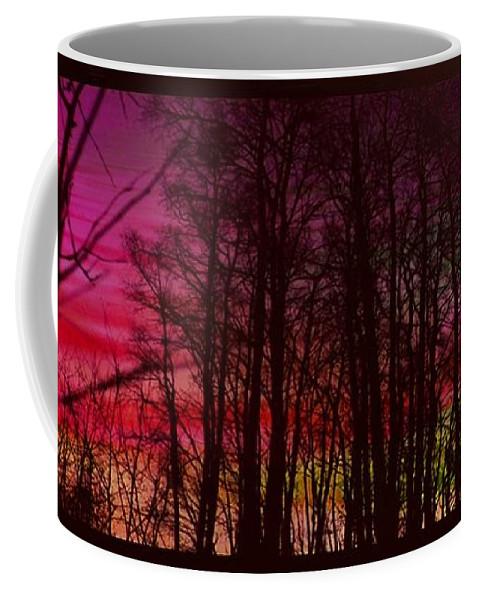 Trees Coffee Mug featuring the digital art When The Deep Purple Falls by Ellen Cannon
