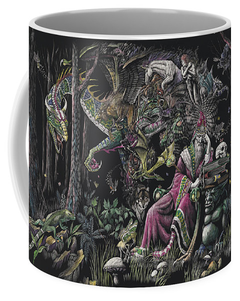 Dragon Coffee Mug featuring the drawing When Wizards Dream by Stanley Morrison