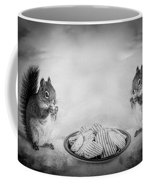 Red Squirrels Coffee Mug featuring the photograph When You Lose Your Nuts There Is Always Chips by Bob Orsillo