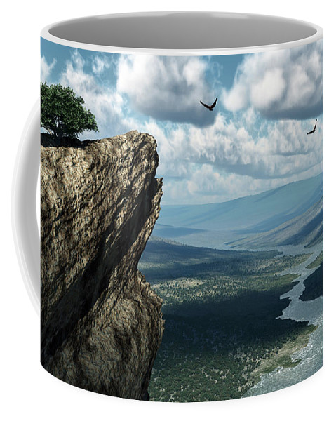 Mountains Coffee Mug featuring the digital art Where Eagles Soar by Richard Rizzo