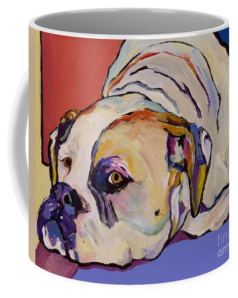 American Bulldog Coffee Mug featuring the painting Where Is My Dinner by Pat Saunders-White