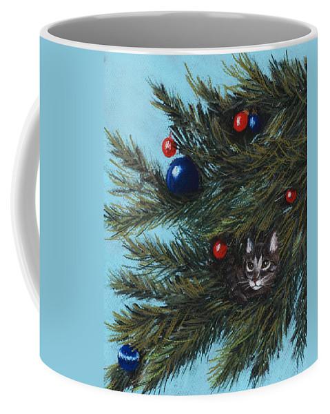 Cat Coffee Mug featuring the pastel Where Is Santa by Anastasiya Malakhova