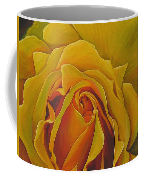 Yellow Rose Coffee Mug featuring the painting Where The Rose Is Sown by Hunter Jay