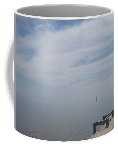 Scene Coffee Mug featuring the photograph Where Water Meets Sky by Mary Mikawoz