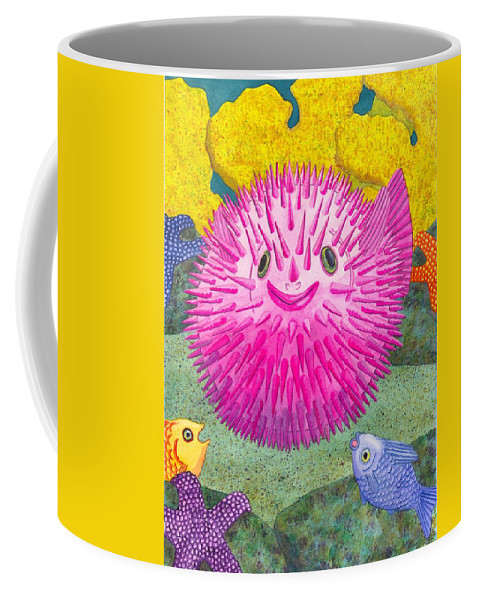 Puffer Fish Coffee Mug featuring the painting Where's Pinkfish by Catherine G McElroy