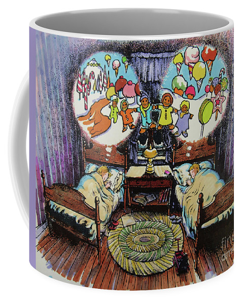 Sugarplums Coffee Mug featuring the drawing While Visions Of Sugarplums... by Don Locke