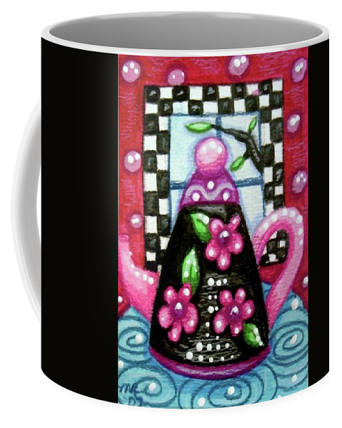 Tea Coffee Mug featuring the painting Whimsical Black Teapot With Pink Flowers by Monica Resinger