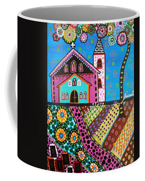 Church Coffee Mug featuring the painting Whimsical Church by Pristine Cartera Turkus