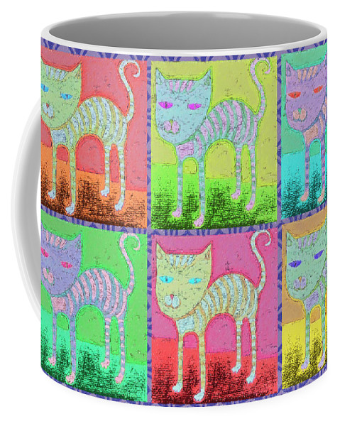 Whimsical Cats Coffee Mug featuring the painting Whimsical Colorful Tabby Cat Pop Art by Rebecca Korpita