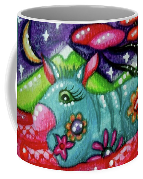 Whimsical Coffee Mug featuring the painting Whimsical Donkey With Mountain Landscape by Monica Resinger
