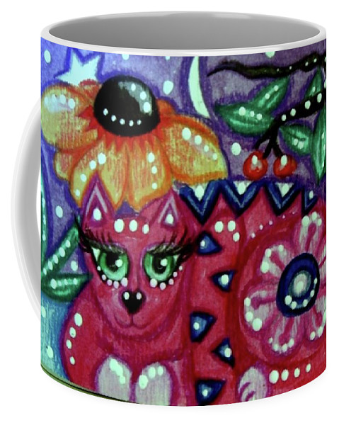 Kitty Coffee Mug featuring the painting Whimsical Kitty Cat With Black Eyed Susan by Monica Resinger