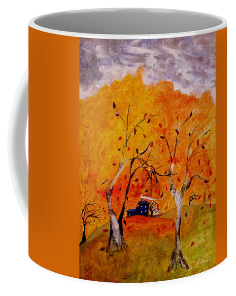 Abstract Coffee Mug featuring the painting Whimsical Wind by Ruth Palmer