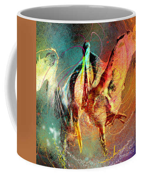 Miki Coffee Mug featuring the painting Whirled In Digital Rainbow by Miki De Goodaboom