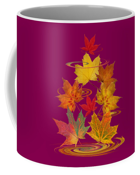 Autumn Leaves Coffee Mug featuring the photograph Whirling Autumn Leaves by Gill Billington
