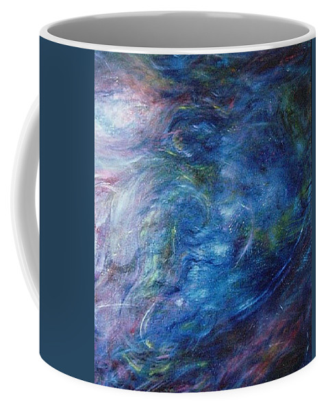 Abstract Coffee Mug featuring the painting Whispers In A Sea Of Blue by Nancy Mueller