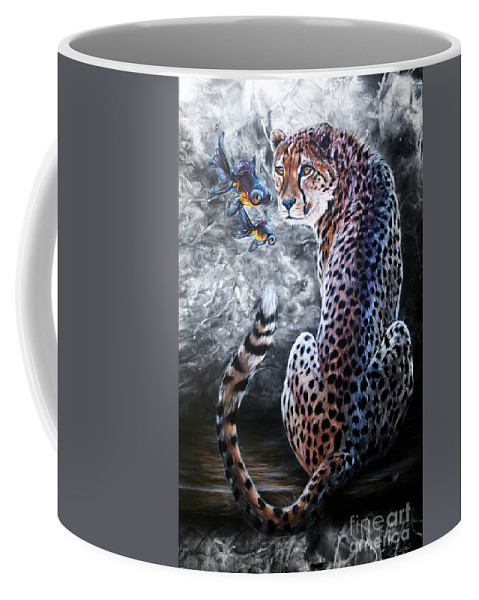 Cheetah Coffee Mug featuring the painting Whispers by Lachri