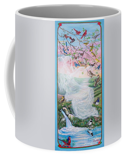 Many Birds Coffee Mug featuring the painting  Whistling Angel-break Of Dawn  by Sigrid Tune
