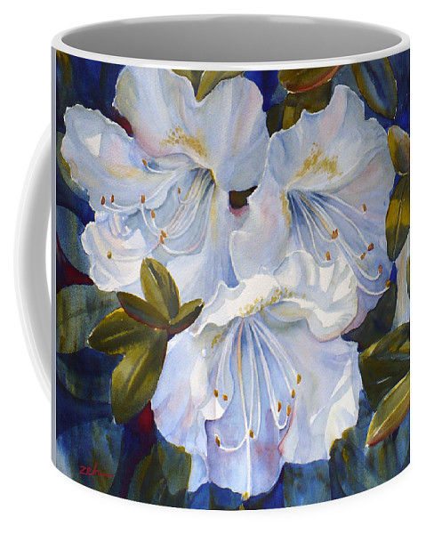 White Flower Print Coffee Mug featuring the painting White Azaleas by Janet Zeh