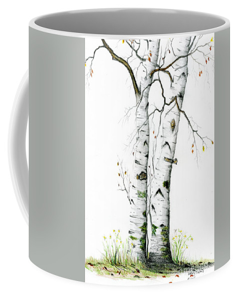 White Birch Coffee Mug featuring the painting White Birch by Mary Tuomi