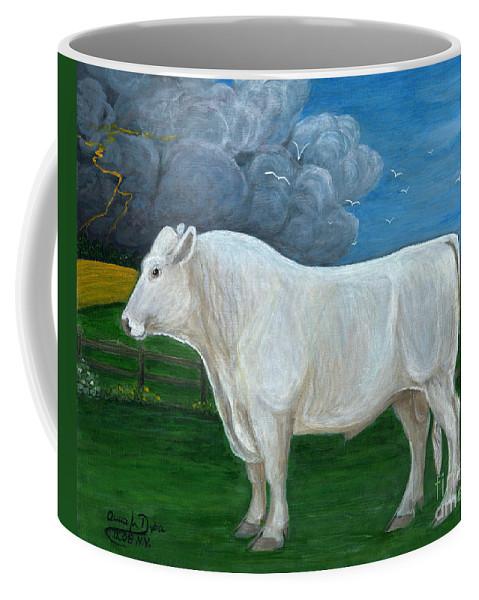 Folkartanna Coffee Mug featuring the painting White Bull by Anna Folkartanna Maciejewska-Dyba