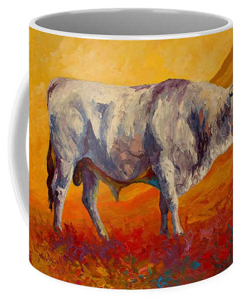 Cows Coffee Mug featuring the painting White Bull by Marion Rose