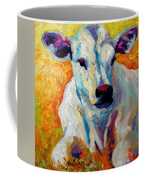 Western Coffee Mug featuring the painting White Calf by Marion Rose