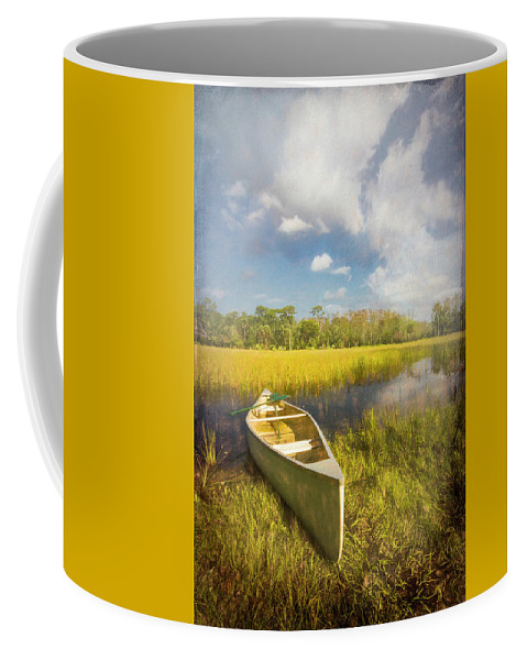 Boats Coffee Mug featuring the photograph White Canoe Textured Painting by Debra and Dave Vanderlaan
