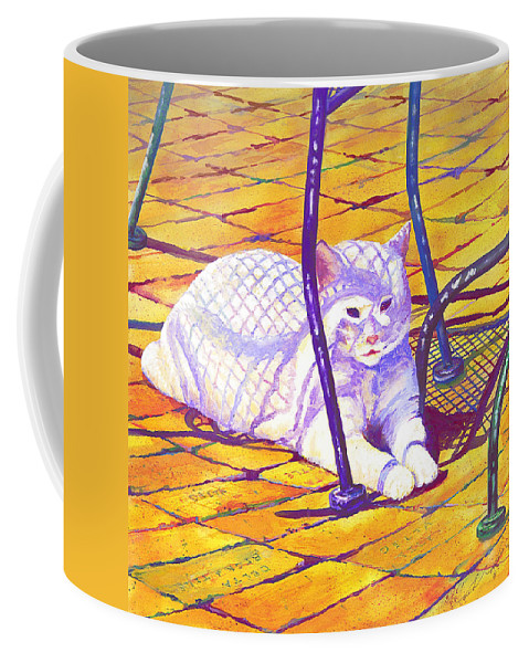 Cat Coffee Mug featuring the painting White Cat On Patio by Connie Williams