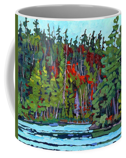 Limberlost Coffee Mug featuring the painting White Cedar Shore by Phil Chadwick