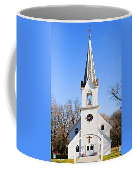 Church Coffee Mug featuring the photograph White Country Church With Open Bell Tower by Donald Erickson