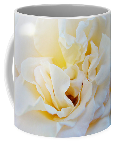 Rose Coffee Mug featuring the photograph White Creamy Pastel Rose Flower Baslee Troutman by Patti Baslee