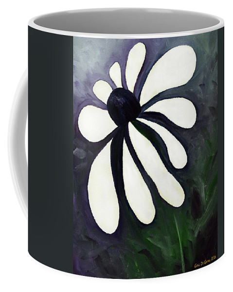 Flower Coffee Mug featuring the painting White Daisy by Gina De Gorna
