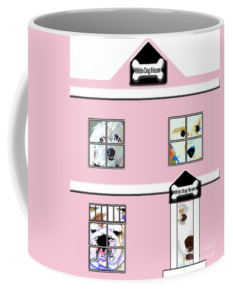 Dog Coffee Mug featuring the painting White Dog House by Candace Lovely