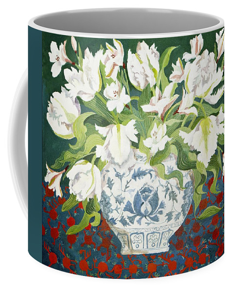 Still-life Coffee Mug featuring the painting White Double Tulips And Alstroemerias by Jennifer Abbot