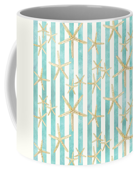 Watercolor Coffee Mug featuring the painting White Finger Starfish Watercolor Stripe Pattern by Audrey Jeanne Roberts