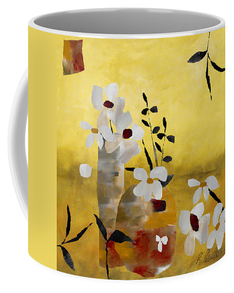 Abstract Coffee Mug featuring the painting White Floral Collage II by Ruth Palmer