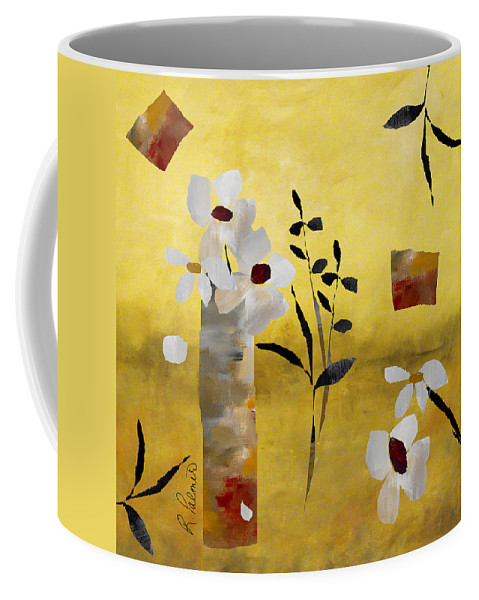 Abstract Coffee Mug featuring the painting White Floral Collage by Ruth Palmer