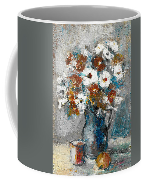 White Coffee Mug featuring the painting White Flower In Vase And Mug by Cuiava Laurentiu
