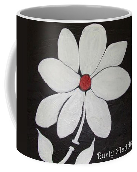 Contemporay Coffee Mug featuring the painting White Flower by Rusty Gladdish