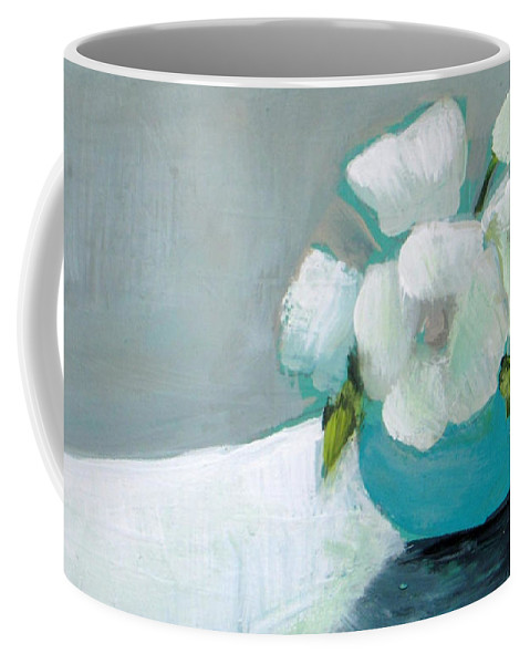 Painting Coffee Mug featuring the painting White Flowers In Blue Vase by Vesna Antic